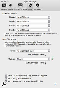Screen 1: MIDI Beat Clock routing is configured in the Sync Preferences. Offsets allow you to manually adjust the timing.