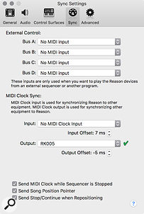 Screen 3: As Reason can only target a single MIDI destination for MIDI Clock, you may need to think about connecting multiple devices via MIDI thru ports or a MIDI interface that can distribute Clock.