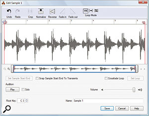 A simple but effective sample editor allows you to trim and tidy up your recorded audio.