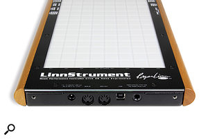 In terms of connectivity the LinnStrument offers MIDI I/O, a  USB port and a  quarter–inch socket for a  footswitch.
