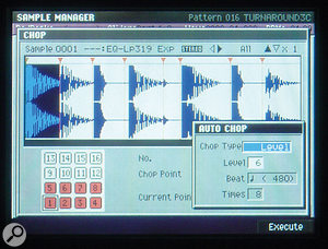 The MV8800's Auto Chop facility mimics the basic operation of software such as ReCycle, chopping up drum loops into hits based on an automatic level-detection routine. However, as you can see particularly on the fourth and eighth slices here, Auto Chop sometimes slices significantly before the actual hit.