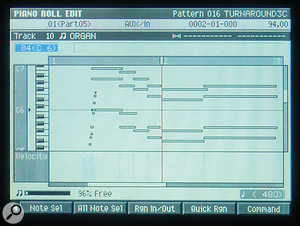 Here you can see the two graphical MIDI editing screens: the Drum Grid (right) and Piano Roll (far right) editors.