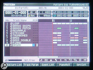The main Pattern screen has much in common graphically with that of a software sequencer, displaying not only MIDI tracks and their contents, but also a great deal of status information about the Pattern as a whole.
