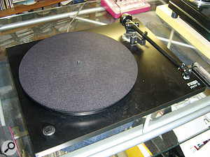 A tale of two turntables: the Regar Planar (top) is used for 78s, the Nottingham Analogue (below) for LPs and singles.