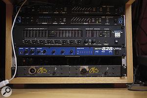Audio transfer between Digital Performer and Brown's Mackie desk is handled by two MOTUinterfaces.