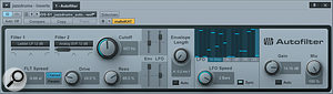 Standard jazz drums are completely transformed by this preset that uses the 16-step sequencer for filter cutoff modulation. For something just a  little less 'out there', bringing in a  bit of the original will introduce some cymbals, which are not otherwise heard.