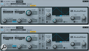 This very stereo vocal process uses two Autofilter instances on bus channels. Top: the left-channel preset, with parallel filters and tempo-sync'ed modulation. Bottom: the right-channel preset, with two band-pass filters in series.