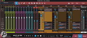 Screen 2: The part of the session for my teletale that shows the dialogue, music and effects submix masters. The PreSonus Compressor plug–in visible in the inserts sections of the music and effects submix masters provides ducking triggered by the dialogue. The UAD 1176 compressors are essentially limiting peaks.