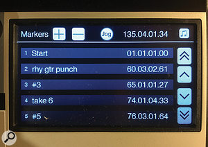 Screen 1: The Markers list on the CS18AI's touchscreen. Note the button in the upper right corner, which switches between beats (relative) and seconds (absolute) time references. Touching a marker locates to it. The Jog function allows scrolling.