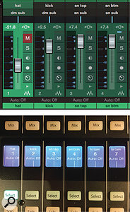 Screen 2A: Channels in the Studio One mixer and on the CS18AI. Where is channel 4? It is a bus channel acting as a snare submaster, so it appears on the Mix Masters layer on the CS18AI, rather than the A (1-16) layer shown here.