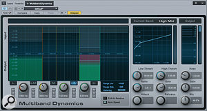 Screen 2: Multi–band dynamics used in parallel can be a  smooth way of changing the bass tone. In this example, only two bands are being used, to add low–end warmth and articulation.