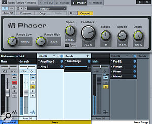 Screen 3: Flanging on bass often works best if it's applied only to the mid and high frequencies. Here, the ProEQ plug–in is applying a  high–pass filter to the signal. Note the range settings on the Phaser, as well as the low Spread value.