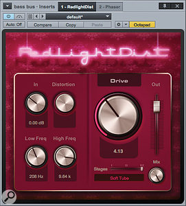 Screen 4: The Low Freq setting acts as a  high–pass filter on this relatively genteel distortion sound. The plug–in is inserted on a  bus channel and then mixed in with the original.
