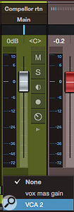 Screen 4: The small, blank box just below the channel meter is actually a  drop-down menu of available VCA groups.