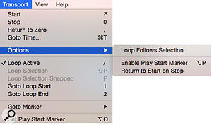 Screen 5: The Loop Follows Selection command is in Transport / Options sub-menu. Also note the Set Play Start Marker command at the bottom of the image.