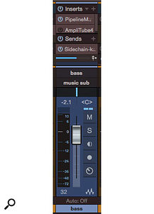 Screen 5: There are several things to notice on the bass channel. First, the Pipeline plug-in, which inserts an outboard Dbx 160 compressor. Second is the AmpliTube plug-in, which is needed often enough to justify having it on tap. Finally, the side-chain send, which is to the kick-drum channel's Pro EQ to overlay the bass's FFT on the kick drum's.