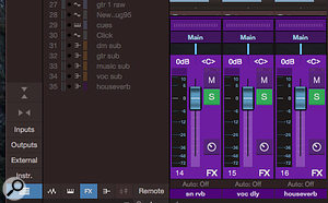 Screen 3: Disengage all of the view toggle buttons below the track list, and click the FX button to activate it, and your FX channels will immediately be right in front of you for muting or soloing during your export process.
