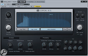 Screen 2: Here the decay time is set to the same length as that of the impulse response. Listen to Audio Example 2 to hear this.