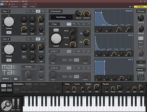The new Mai Tai virtual analogue instrument includes a  Character parameter that creates basic tone characteristics, a  noise generator, Drive and Punch parameters for the filter, and other niceties.