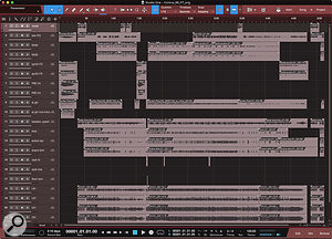 Screen 3: This is the Studio One 4 Song document after importing the AAF file from the Pro Tools session shown in Screen 2. AAF is effective but not always immaculate. Notice that several tracks are duplicated, which is unfortunate, but it's easy enough to delete them, and worth the trouble to achieve the file exchange.