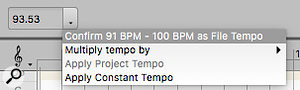 Screen 1: The Confirm option in the Tempo drop-down menu accepts Melodyne's tempo analysis for the tempo map, but has no effect on the audio itself — yet. It could, later, depending on what operations you perform. The command shows the range of tempos found by Melodyne.
