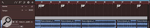 Screen 2: The cut-up, renamed events have been lined up to start at the correct places in the song form. The space between the events shows the difference between the stated and actual tempos. Note the markers denoting the form.