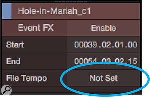 Screen 3: If your file contains time-signature or tempo variation then be sure to Alt-drag and not Command+Alt-drag, or a  single file tempo will be set, which messes with all events made from the file.