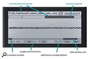 Impact's sample editing includes a zoomable waveform display, velocity switching, sample trimming, and auditioning of a sample by selecting it in the velocity range bar.