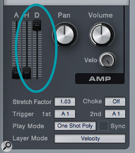 The key to using long samples in Impact is the Decay slider, which must be all the way up to play a very long sample.