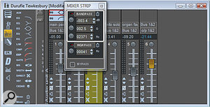 Here, the mixer window shows a couple of EQ sections, with a 'flyout' to allow the first channel's EQ to be adjusted. All very 'number-y'! VST and Direct X plug‑ins can also be inserted in the mixer channels, in addition to the in‑house EQ, dynamics, and so forth (which are all shown in the box to the left of the mixer).