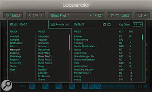 The Remote List allows you to link Looperator presets to MIDI notes for remote selection and triggering.