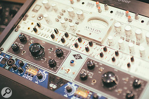 There's no conventional mixing console at Spacebomb East: instead, racks of outboard preamps feed Pro Tools and the studio's pristine MCI eight-track tape machine.