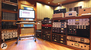 The former Hansa mix room is now home to producer Michael Ilbert and his outrageous collection of vintage outboard. Among the more unusual items visible in the rightmost rack are pairs of Spectrasonics 610 and Decca limiters, and custom-built copies of the classic EMI limiter.