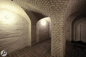 The cellar vault beneath the stairs in the large live room is often employed as a  natural echo chamber.