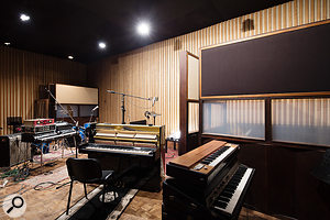 Like that of Studio A, the Studio B live room features variable acoustics.