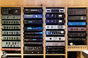 An impressive array of classic vintage gear occupies the main Studio B outboard rack.