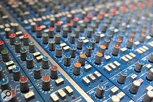 From top: Studio 1's SSL desk, in its custom 'Hansa Blue' colour; apair of rare EMT units, the 156 compressor and 250 digital reverb; and tape machines in Hansa Studio 1.