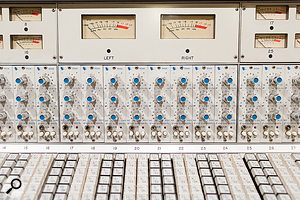 Studio B is centred around a white API desk from 1973, equipped with 32 550A EQs in its input channels.