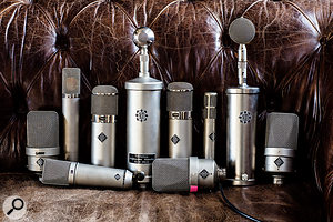 The microphone collection includes many vintage classics.