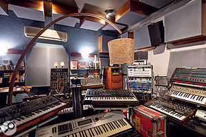 The post-production suite houses a collection of rare keyboards and synthesizers, including a vintage Moog System 15.