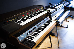 JRS offers a  large selection of vintage instruments, including a  360 Systems sample keyboard, a  Solina String Ensemble, and Rhodes and Wurlitzer pianos.