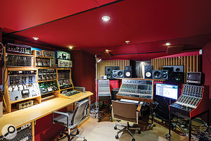 The basement control room is centred around a  vintage Calrec console.