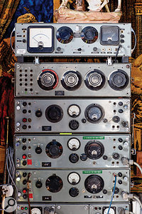 Ancient BBC-designed mixers and amplifiers take pride of place in Martin King's room.