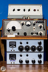 Classic British gear in Martin King's room: from top, Vortexion preamp, BBC 'portable tone source' and Pye mixer.
