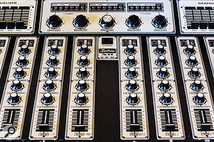 Floating gear in the live room includes this Kustom XII mixer.