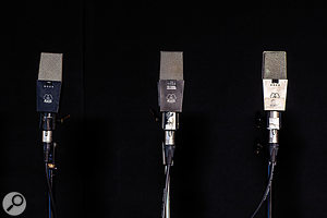 The microphone collection includes vintage classics such as these AKG C414, Sony C48 and Neumann U47 FET models.