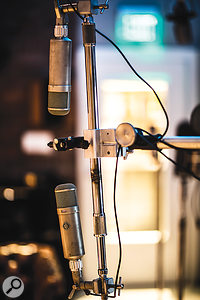 Classic Neumann U47 mics in the live room.