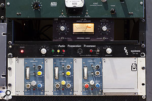 Classic and more unusual dynamics units: from top, Altec 436C, Universal Audio LA3A, CRL Systems APP and three Tweed Audio CL604/1 modules.