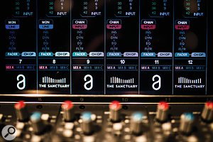Close-up of the SSL Duality Delta console.