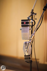 Modern classics: a  pair of AEA R44 ribbon mics and a  Manley Reference Gold set up in the live room.